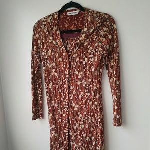 Vintage 2 piece duster button up dress w/skirt